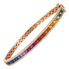 Diamond Tennis Bangle Bracelet 18 Karat Gold Diamond 0.80 Carat/130 Pieces Multi