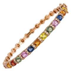 Diamond Tennis Bangle Bracelet 18K Rose Diamond 0.76 Cts/172 Pcs Multi Sapphire