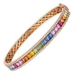Diamond Tennis Bangle Bracelet 18K Rose Diamond 0.87 Cts/114 Pcs Multi Sapphire