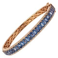 Diamond Tennis Bangle Bracelet 18k Rose Gold Blue Sapphire 11.07 Ct/28 Pcs