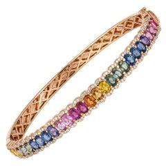 Diamond Tennis Bangle Bracelet 18K Rose Gold Diamond 0.59 Carat/176 Pieces Multi
