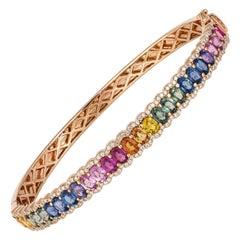 Diamond Tennis Bangle Bracelet 18K Rose Gold Diamond 0.59 Cts/176 Pcs