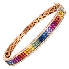 Diamond Tennis Bangle Bracelet 18k Rose Gold Diamond 0.70 Ct/116 Pcs