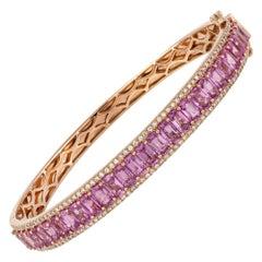 Diamond Tennis Bangle Bracelet 18k Rose Gold Diamond 0.77 Cts/130 Pcs Ps 8.88 Ct