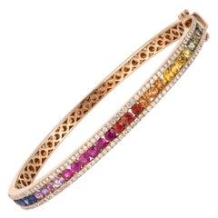 Diamond Tennis Bangle Bracelet 18K Rose Gold Diamond 0.78 Cts/130 Pcs Multi