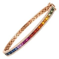 Diamond Tennis Bangle Bracelet 18k Rose Gold Diamond 0.80 Ct/130 Pcs