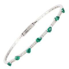 Diamond Tennis Bangle Bracelet 18K White Gold Diamond 0.11 Carat/26 Pcs Emerald