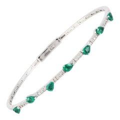 Diamond Tennis Bangle Bracelet 18K White Gold Diamond 0.11 Cts/26 Pcs