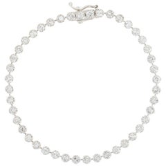 Diamond Tennis Bracelet, 14 Karat White Gold Round Brilliant 2.33 Carat