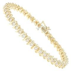 Diamond Tennis Bracelet, 14 Karat Yellow Gold Round Cut 3.00 Carat