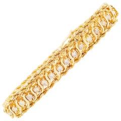 Diamond Tennis Bracelet, 1.50 Carat Diamond 14 Karat Gold Rope Chain Bracelet