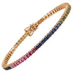 Diamond Tennis Bracelet 18 Karat Rose Gold Multi Sapphire 7.07 Carat/73 Pcs
