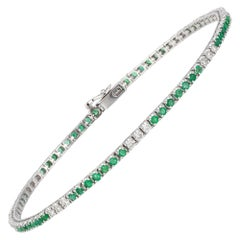Diamond Tennis Bracelet 18 Karat White Gold Diamond 0.47 Carat/21 Pieces Emerald