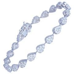 Diamond Tennis Bracelet 18 Karat White Gold Diamond 2.50 Carat/140 Pcs