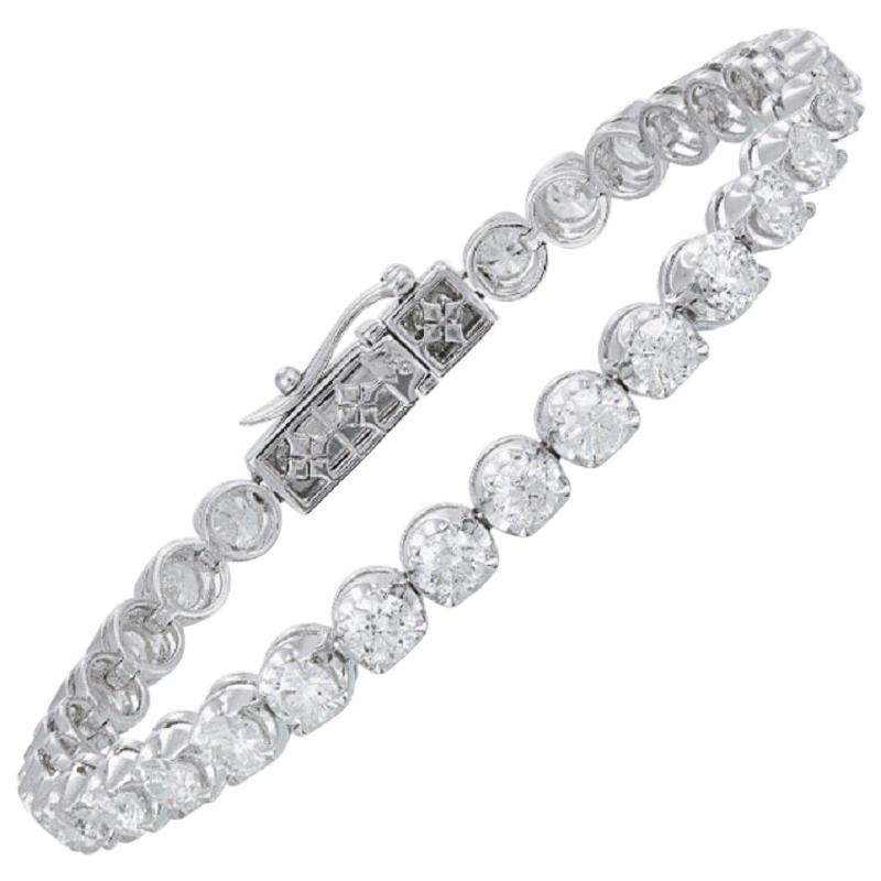 Diamond Tennis Bracelet 18 Karat White Gold Diamond 8.00 Carat/32 Pieces
