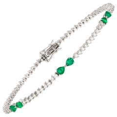 Diamond Tennis Bracelet 18K Gold Diamond 0.98 Carat/72 Pieces Emerald 0.68 Carat