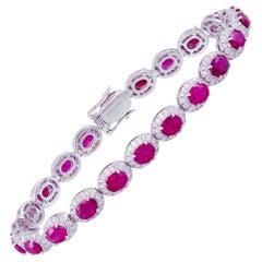 Diamond Tennis Bracelet 18K Gold Diamond 1.94 Carat/264 Pieces Ruby 9.89 Carat