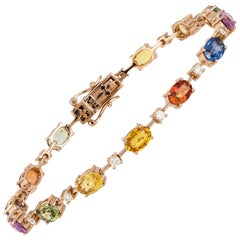 Diamond Tennis Bracelet 18K Rose Gold Diamond 0.53 Carat/14 Pcs Multi Sapphire