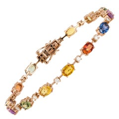 Diamond Tennis Bracelet 18k Rose Gold Diamond 0.53 Cts/14 Pcs Multi Sapphire