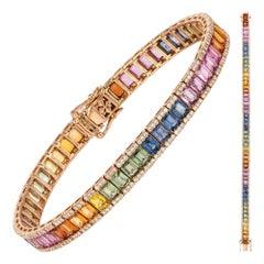 Diamond Tennis Bracelet 18K Rose Gold Diamond 1.17 Cts/330 Pcs Multi Sapphire