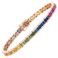 Diamond Tennis Bracelet 18k Rose Gold Diamond 1.30 Cts/300 Pcs Multi Sapphire