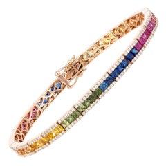 Diamond Tennis Bracelet 18K Rose Gold Diamond 1.30 Cts/300 Pcs Multi Sapphire