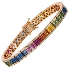 Diamond Tennis Bracelet 18k Rose Gold Diamond 1.44 Cts/284 Pcs Multi Sapphire