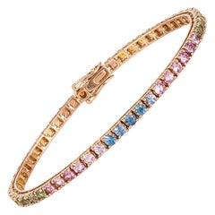 Diamond Tennis Bracelet 18K Rose Gold Multi Sapphire 6.94 Cts/54 Pcs