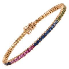 Diamond Tennis Bracelet 18k Rose Gold Multi Sapphire 7.07 Cts/73 Pcs