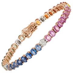 Diamond Tennis Bracelet 18k TT Diamond 0.28 Cts/50 Pcs Multi Sapphire 16.65 Cts