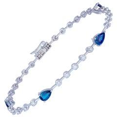 Diamond Tennis Bracelet 18k White Gold Blue Sapphire 2.14 Ct/4 Pcs Diamond 0.39