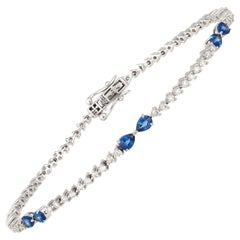 Diamond Tennis Bracelet 18k White Gold BS 1.22 Cts/6 Pcs Diamond 1.00 Cts/72 Pcs