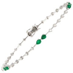 Diamond Tennis Bracelet 18K White Gold Diamond 0.42 Cts/30 Pcs Emerald 0.86 Cts
