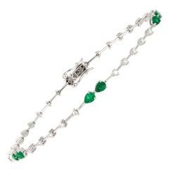 Diamond Tennis Bracelet 18k White Gold Diamond 0.42 Cts/30 Pcs Emerald 0.86 Cts
