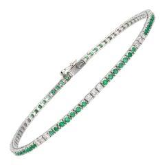 Diamond Tennis Bracelet 18k White Gold Diamond 0.47 Cts/21 Pcs Emerald 1.03 Cts/