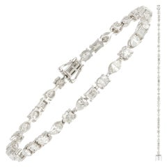 Diamond Tennis Bracelet 18K White Gold Diamond 1.10 Cts/7 Pcs Emerald 0.96 Carat