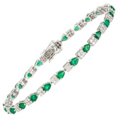 Diamond Tennis Bracelet 18k White Gold Diamond 1.22 Cts/92 Pcs Emerald 3.17 Cts