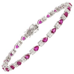Diamond Tennis Bracelet 18k White Gold Diamond 1.22 Cts/92 Pcs Ruby 3.84 Cts