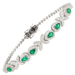Diamond Tennis Bracelet 18k White Gold Diamond 1.54 Cts/170 Pcs Emerald 1.02 Cts