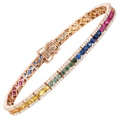 Diamond Tennis Bracelet 18k White Gold Diamond 1.55 Cts/312 Pcs Multi Sapphire
