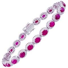 Diamond Tennis Bracelet 18k White Gold Diamond 1.94 Cts/264 Pcs Ruby 9.89 Cts