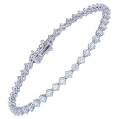 Diamond Tennis Bracelet 18k White Gold Diamond 2.98 Ct/45 Pcs