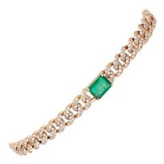 Diamond Tennis Bracelet 18k Yellow Gold Diamond 2.79 Cts/582 Pcs Emerald 2.18