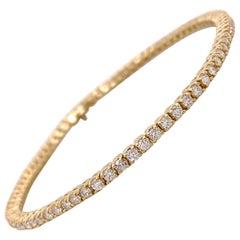 Diamond Tennis Bracelet, 2 Carat Natural, Genuine Diamond Bracelet, Yellow Gold