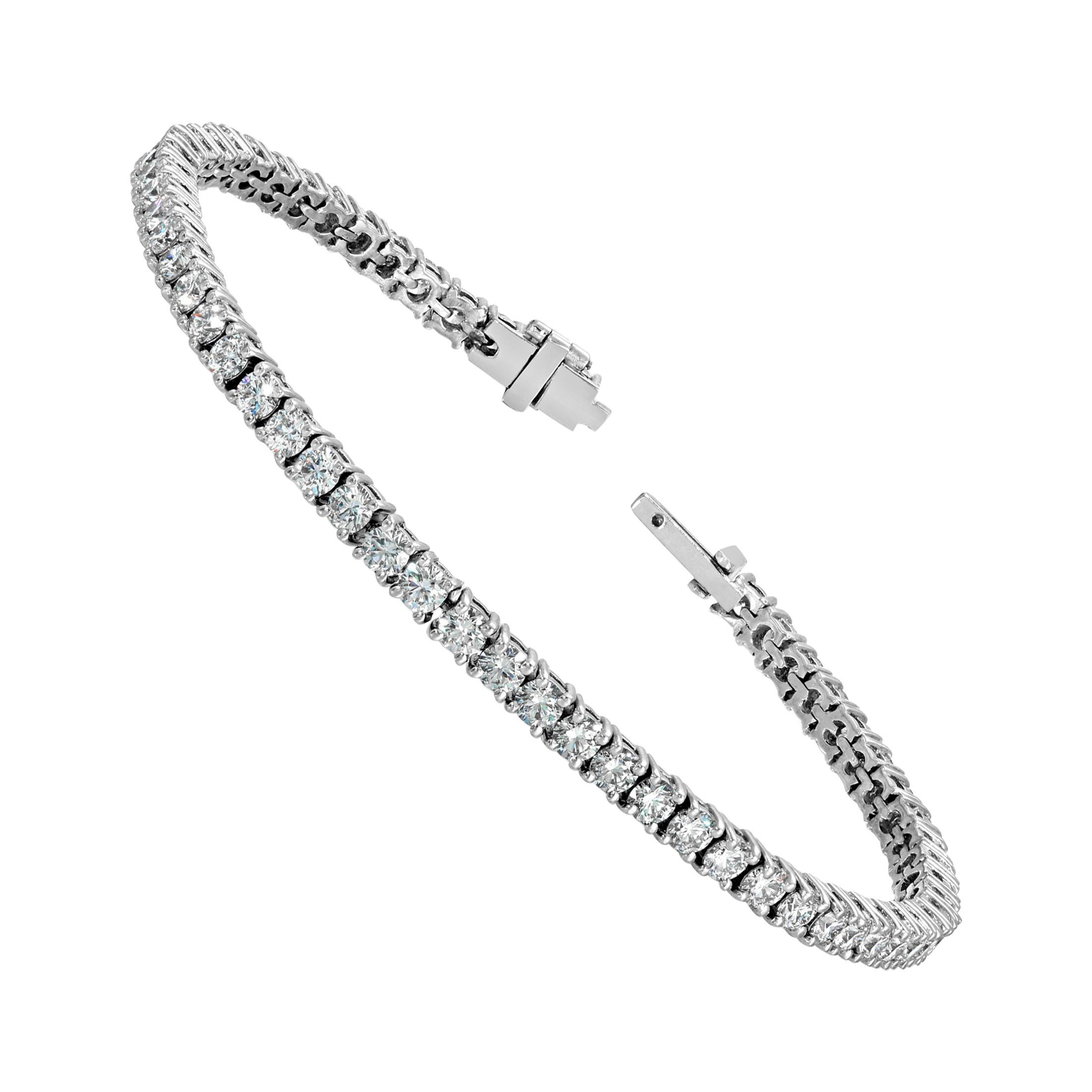Diamond Tennis Bracelet 4.93 Carat DEF Color VS2 18 Karat White Gold