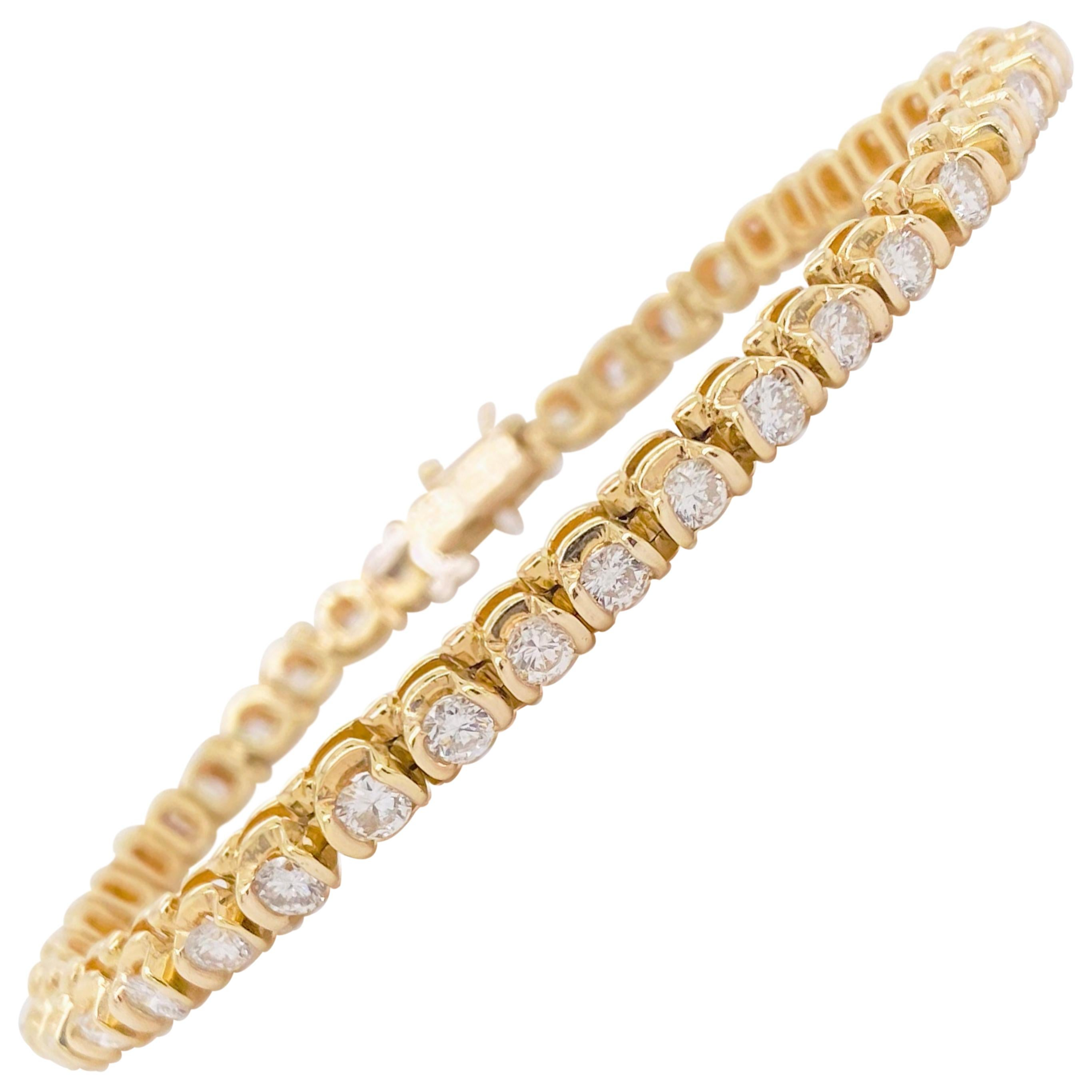 Diamond Tennis Bracelet, 5 Carat Diamond Bracelet, Yellow Gold, Gift