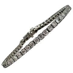 Diamond Tennis Bracelet 5.44 Carat in White Gold