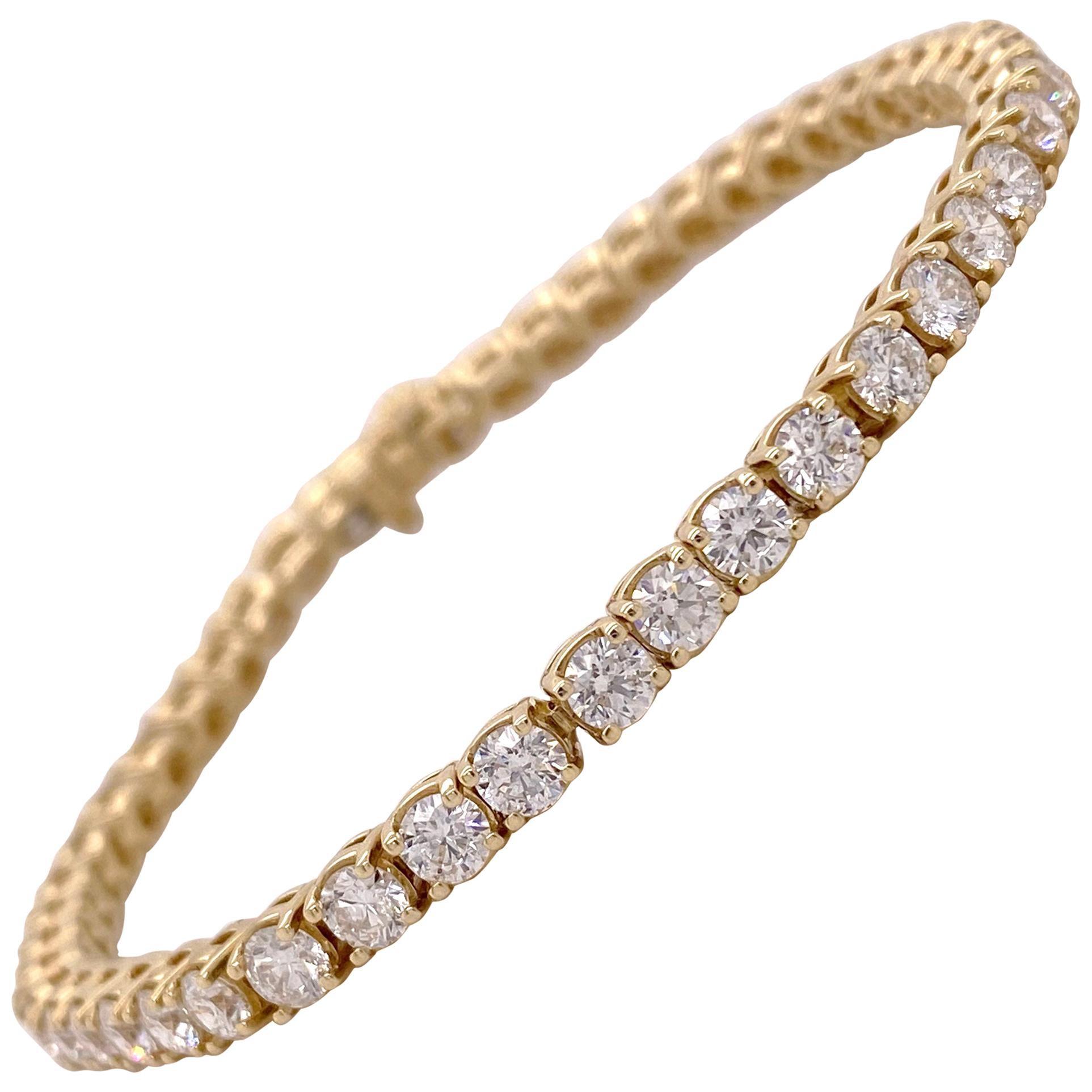 Diamond Tennis Bracelet, 7 Carat Diamond Bracelet, 4 Prong Tennis Bracelet 7 ct