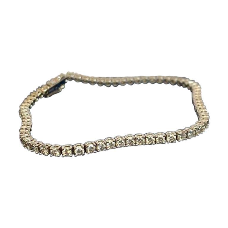 Brillant Cut Diamond Tennis Bracelet, 3,22 carats, GIA certified For Sale