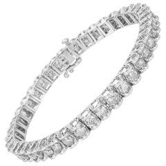 Diamond Tennis Bracelet in 14 Karat White Gold 7.00 Carat